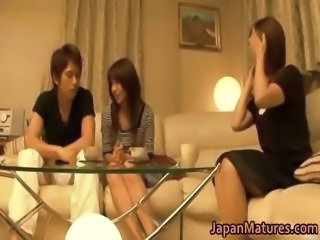 Asian Daughter Family Japanese Mature Mom Old and Young Threesome