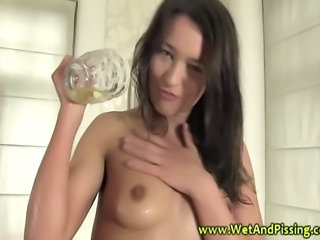 Babe takes a gulp of urine when no one is watching HD