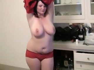 Amateur Big Tits Chubby Dancing MILF Natural Panty Stripper Wife