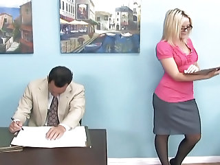 Blonde Glasses MILF Office Secretary