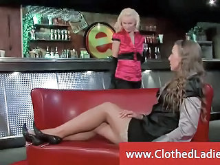 Clothed Lesbian MILF Stockings