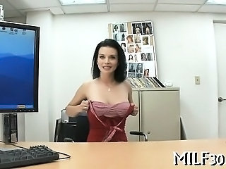 Amazing Casting Cute MILF Office Pov Stripper