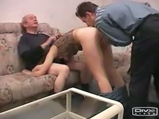 Amateur Blowjob Daddy Family Old and Young Teen Threesome