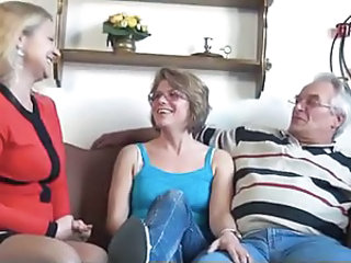 European German Glasses Mature Older Threesome Wife