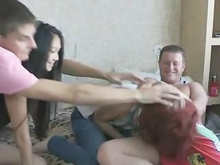 Foursome Close By Redhead And Asian Dolls