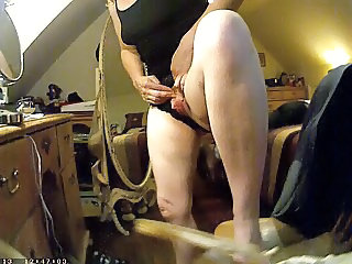 Showing her big clit on hidden camera