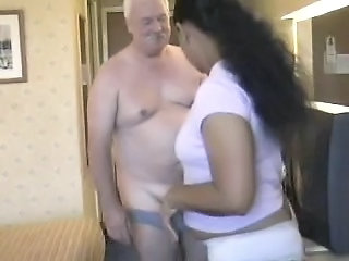 Chunky Babe From India Crinding On White Old Man's Meaty Cock
