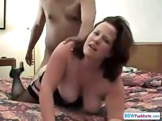 BBW Annabelle Flowers sucks a black cock while getting nailed by white