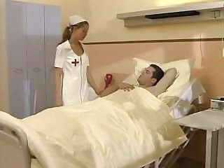 Teenie nurse Tyra Misoux gives her patient a nice blowjob