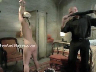 Blondie punished by work mate underground in secret room in bondage rough mouth and pussy fuck that make her go wild wild