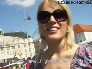 Small tits amateur blonde euro babe takes money from stranger and gets pussy penetrated by riding on his dick in a public place