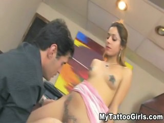 naughty tattooed blonde babe gets fucked in the office