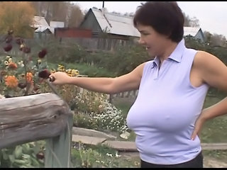 Russian Huge-boobs-milf On Her Farm