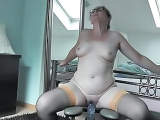 German MILF Sabine trying her new fucking chair