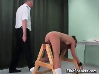 Sexy brunette bitch is bent over a bench part4