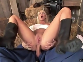 Simony Diamond gorgeous blue eyed blonde maid gets nailed