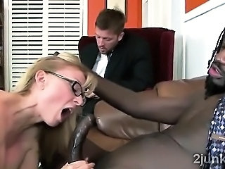 Stunning mature secretary saves sons job by fucking his gifted boss