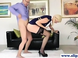 Classy babe devours old mans hard cock