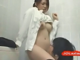 Office Lady Getting Her Hairy Pussy Licked In The Toilette