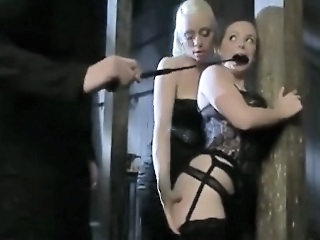 BDSM threesome with two blonde whores