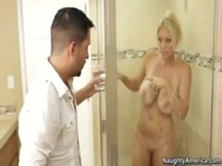 "Blonde milf fucks in bathroom and takes facials"" target=""_blank"