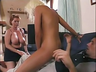Mother and daughter sharing a guy