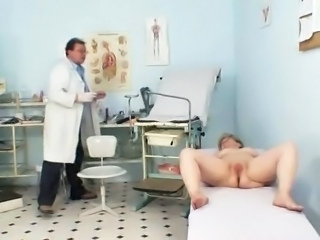 Big-Titted grandmother Ruzena visits gyno fetish clinic