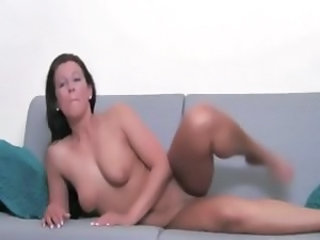Hot beauty wants to suck a cock on sofa