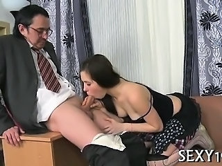 Tricky teacher seducing beautiful student