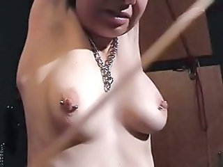 Amateur Slave Whip and cane Hanging