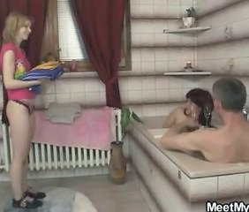 GF pussy is licked and fucked by his parents