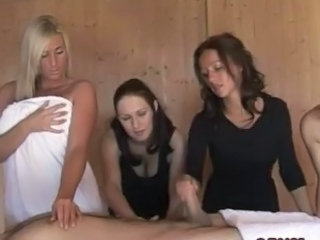 Cute female domination tugging inside front of voyeurs