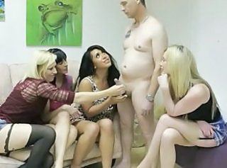 Dominas in group dominate sub by tugging