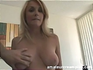 Busty blonde, Daphne sucks a hard cock and then gets fucked