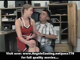 Redhead cheerleader does blowjob for nerdy guy in principals office