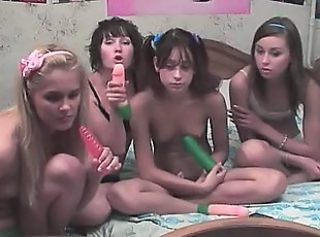 Four russian cheerleaders in live show