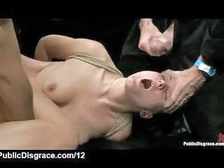 Bound Babe Group Fucked In Public