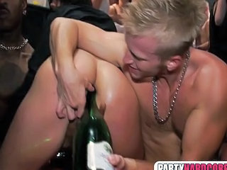 Bottle Of Champagne In Her Asshole