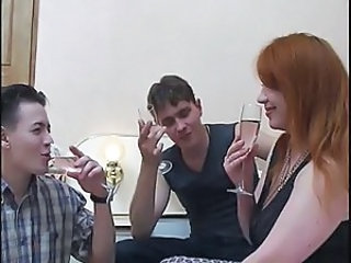 Mature russian redhead fucked by 2 guys