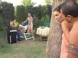 Two hot couples fuck by the pool
