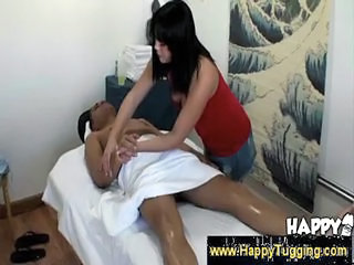 Asian girl massages a penis