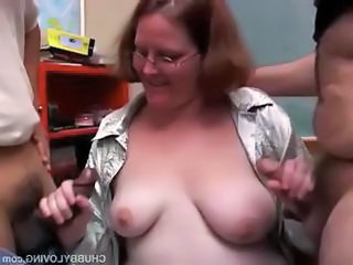 Nerdy Red-haired Teacher Gets Two Young Students To Blow Their Load On Her