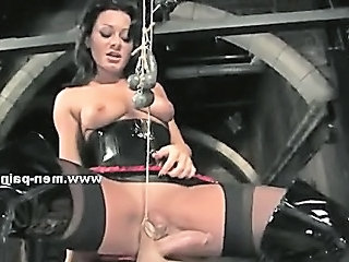 Man Tied In Ropes With Hands Behind And Used By Kinky Mistress That Loves To Explore Him