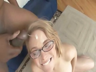 Nerdy College Student With Big Breasts Gets Several Guys To Unload Their Balls