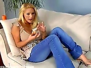 Ass Babe Blonde Jeans Spanking