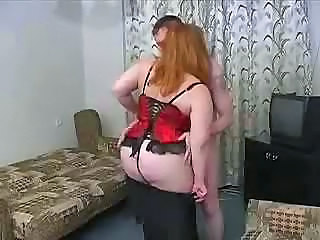 BBW Corset Mature Mom Russian Stockings
