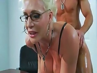 Amazing Big Tits Blonde Doggystyle Glasses Mature Oiled