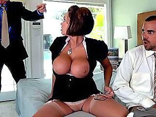 Big Tits Clothed Glasses Pornstar Silicone Tits Stockings Threesome