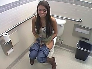 Brunette Cute Long hair Toilet Voyeur