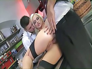 Amazing Anal Babe Blonde French Maid Stockings Threesome